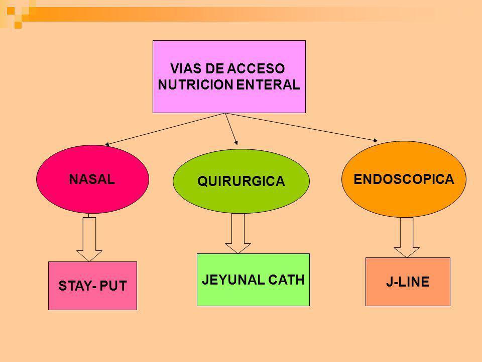 VIAS DE ACCESO NUTRICION ENTERAL ENDOSCOPICA NASAL QUIRURGICA JEYUNAL CATH J-LINE STAY- PUT