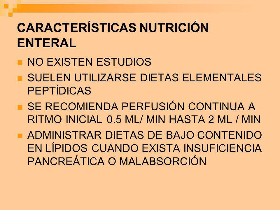 CARACTERÍSTICAS NUTRICIÓN ENTERAL