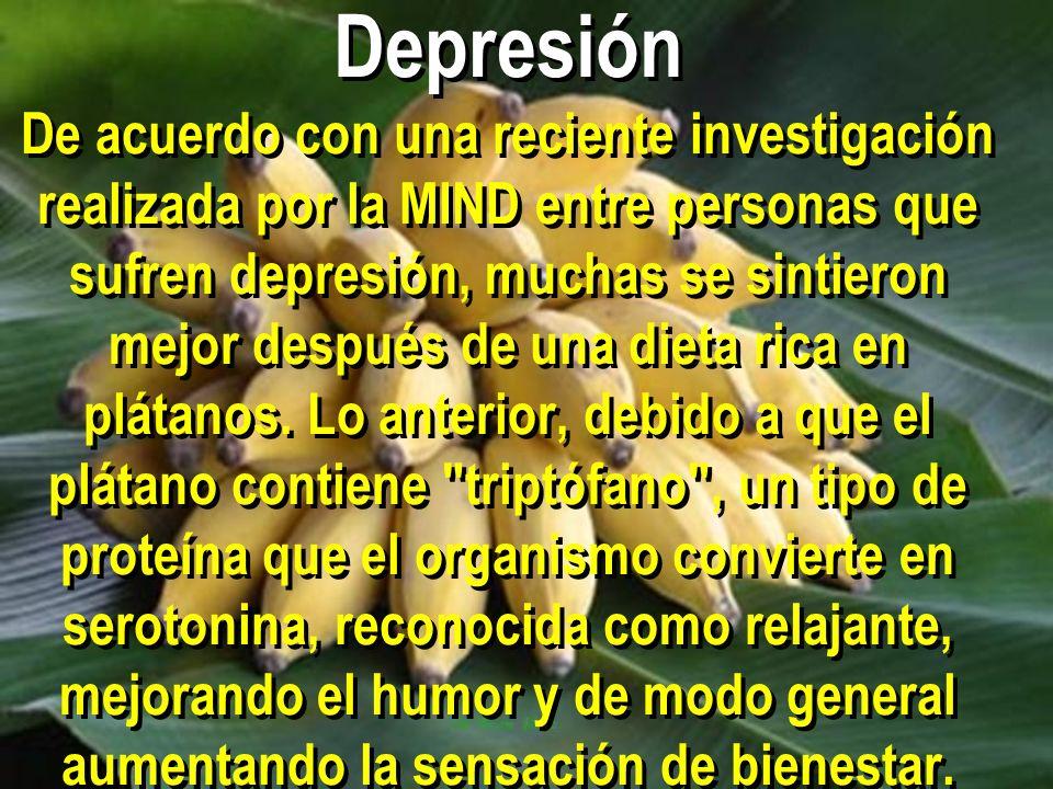 Depresión De acuerdo con una reciente investigación realizada por la MIND entre personas que sufren depresión, muchas se sintieron mejor después de una dieta rica en plátanos.