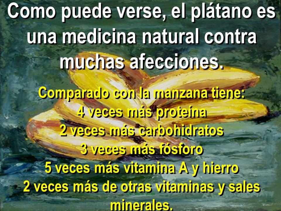 Como puede verse, el plátano es una medicina natural contra muchas afecciones.