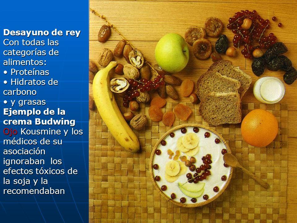 Desayuno de rey Con todas las categorías de alimentos: Proteínas. Hidratos de carbono. y grasas.