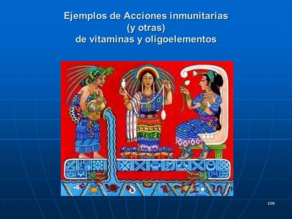 Ejemplos de Acciones inmunitarias (y otras) de vitaminas y oligoelementos