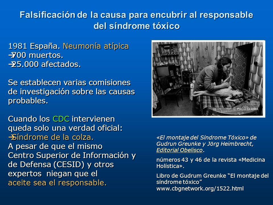 Falsificación de la causa para encubrir al responsable del síndrome tóxico