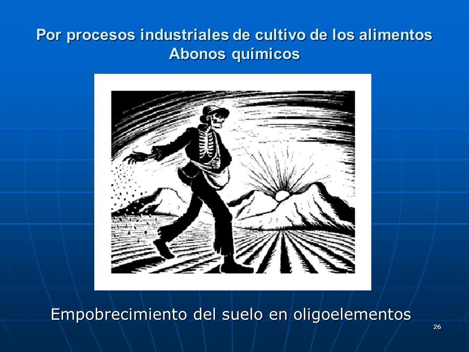 Por procesos industriales de cultivo de los alimentos Abonos químicos