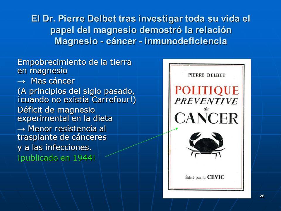 El Dr. Pierre Delbet tras investigar toda su vida el papel del magnesio demostró la relación Magnesio - cáncer - inmunodeficiencia