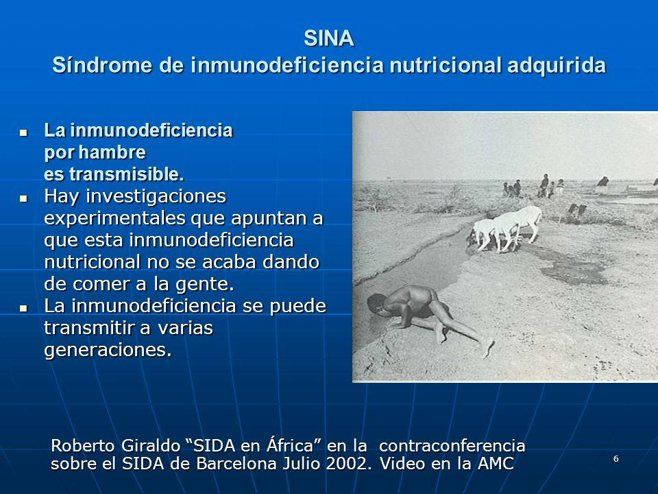 SINA Síndrome de inmunodeficiencia nutricional adquirida