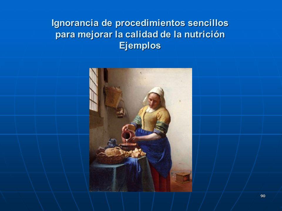 Ignorancia de procedimientos sencillos para mejorar la calidad de la nutrición Ejemplos