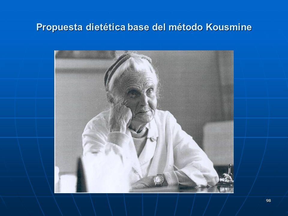 Propuesta dietética base del método Kousmine