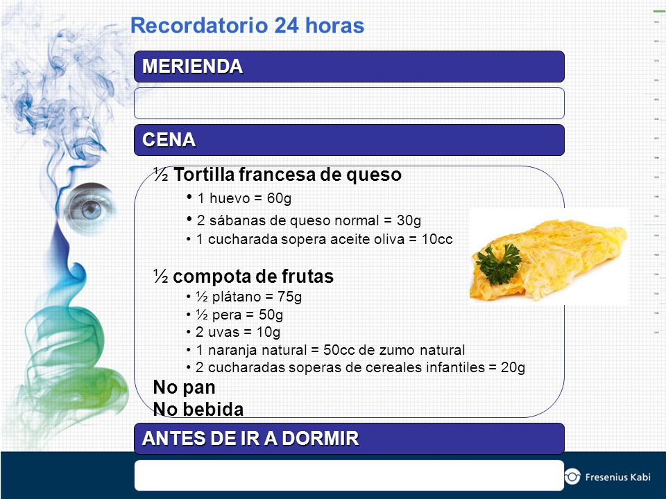 Recordatorio 24 horas MERIENDA CENA ½ Tortilla francesa de queso