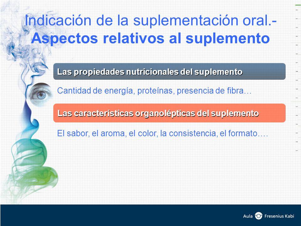 Indicación de la suplementación oral