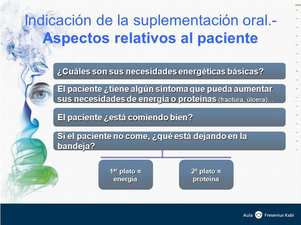 Indicación de la suplementación oral.- Aspectos relativos al paciente