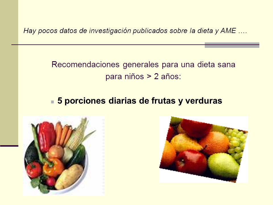 Recomendaciones generales para una dieta sana