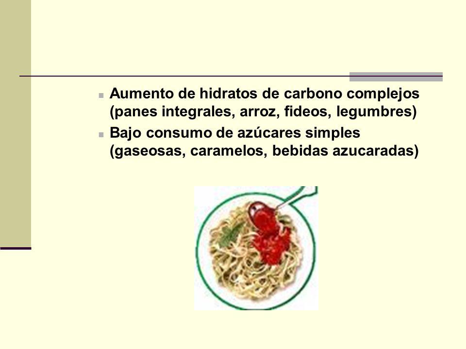 Aumento de hidratos de carbono complejos (panes integrales, arroz, fideos, legumbres)