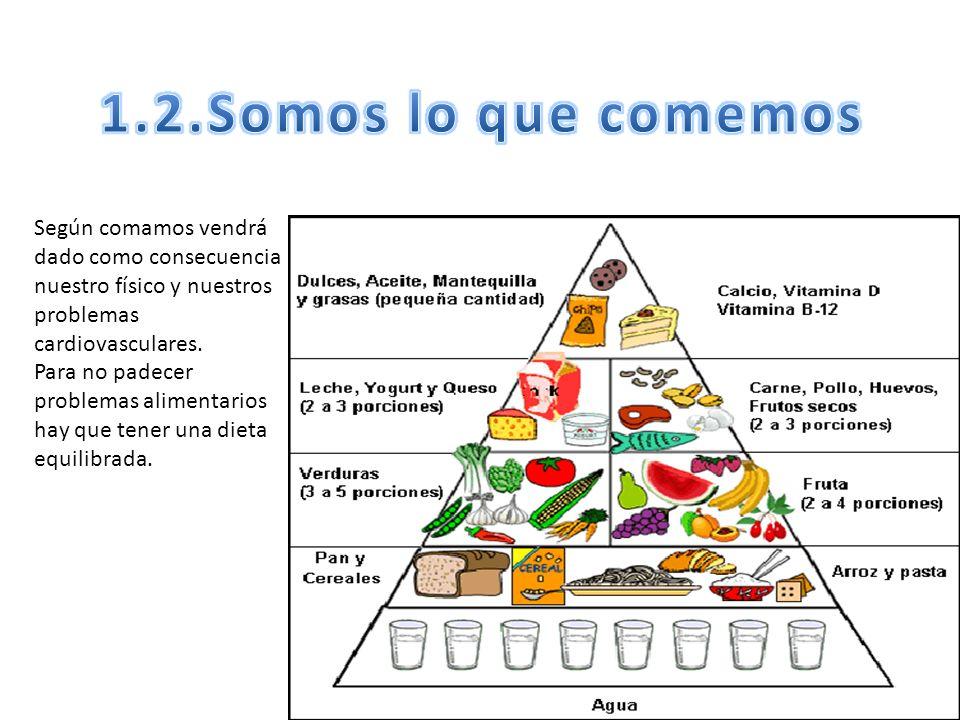 1.2.Somos lo que comemos Según comamos vendrá dado como consecuencia nuestro físico y nuestros problemas cardiovasculares.