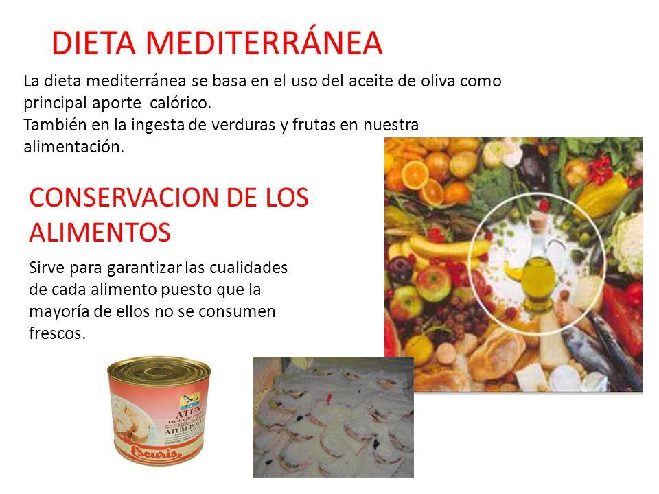 DIETA MEDITERRÁNEA CONSERVACION DE LOS ALIMENTOS