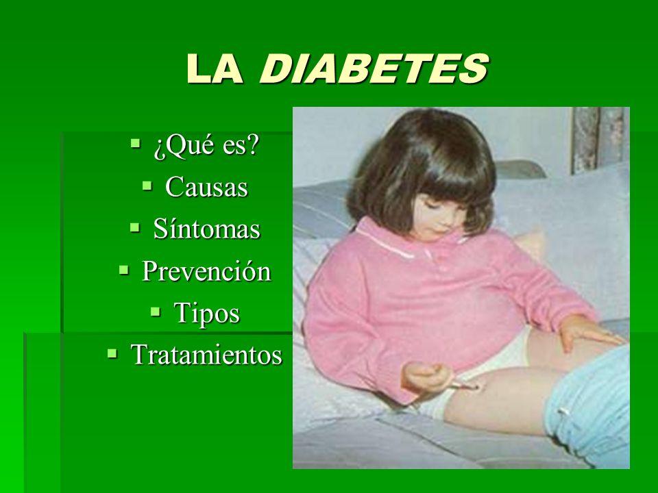 LA DIABETES ¿Qué es Causas Síntomas Prevención Tipos Tratamientos