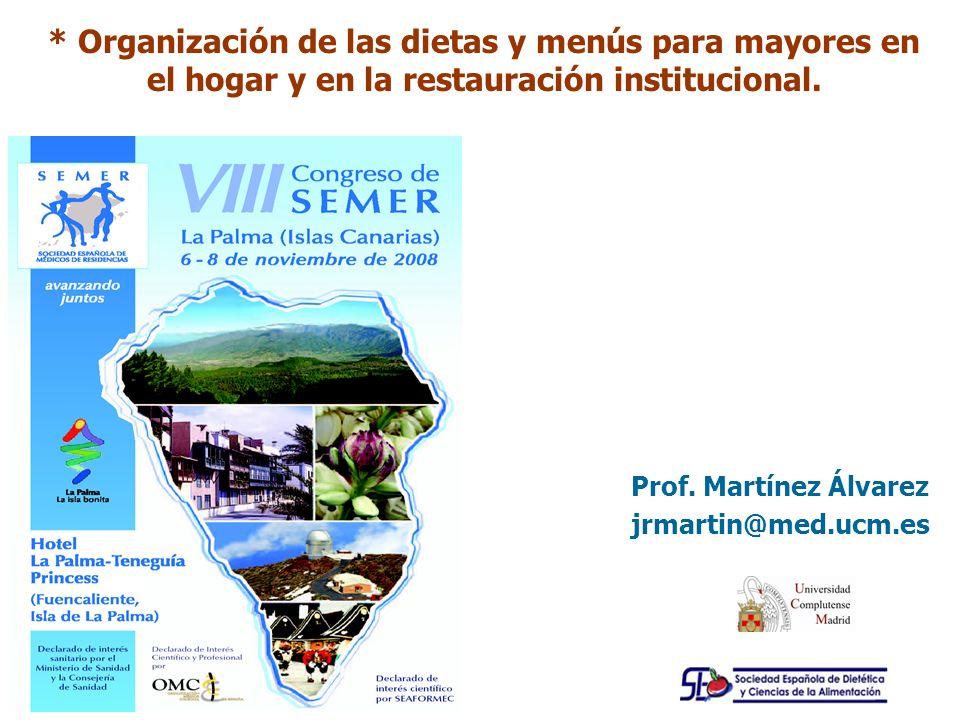 * Organización de las dietas y menús para mayores en el hogar y en la restauración institucional.