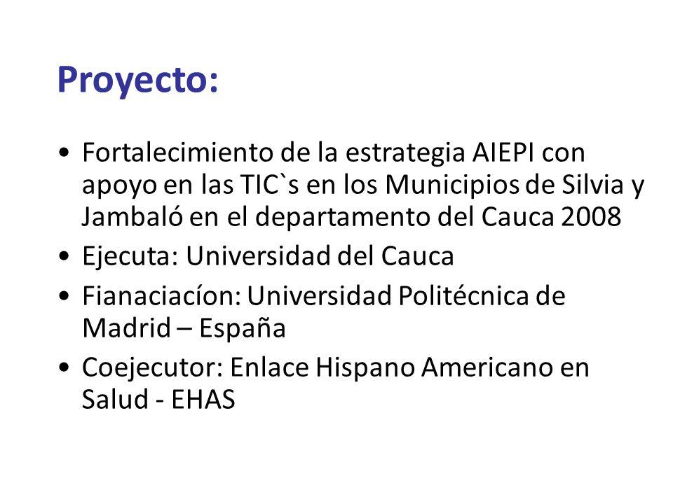 Proyecto: Fortalecimiento de la estrategia AIEPI con apoyo en las TIC`s en los Municipios de Silvia y Jambaló en el departamento del Cauca 2008.