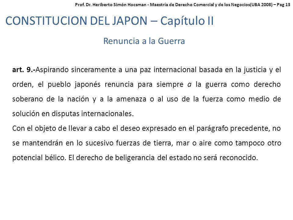 CONSTITUCION DEL JAPON – Capítulo II