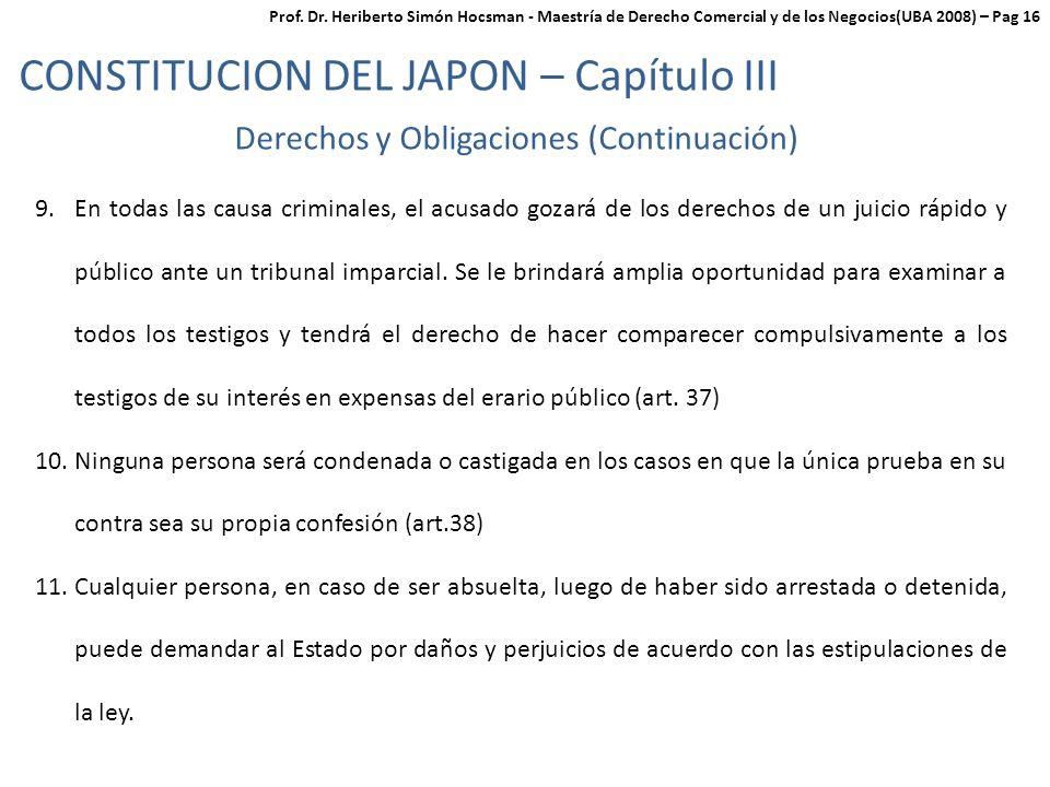Derechos y Obligaciones (Continuación)