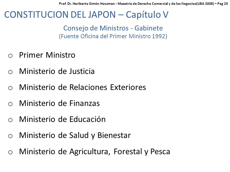 CONSTITUCION DEL JAPON – Capítulo V