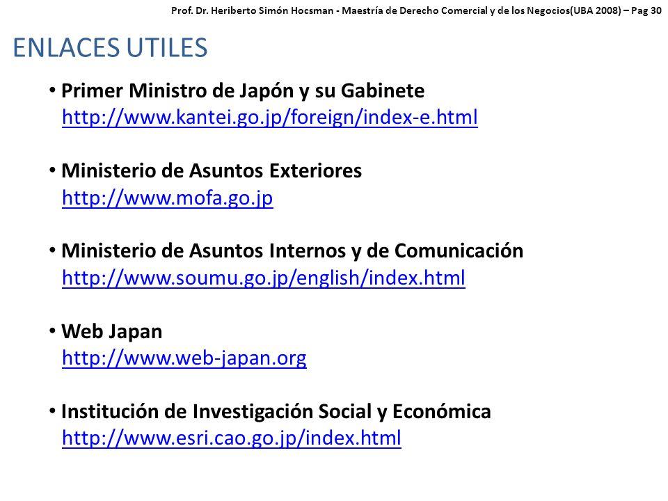 ENLACES UTILES Primer Ministro de Japón y su Gabinete
