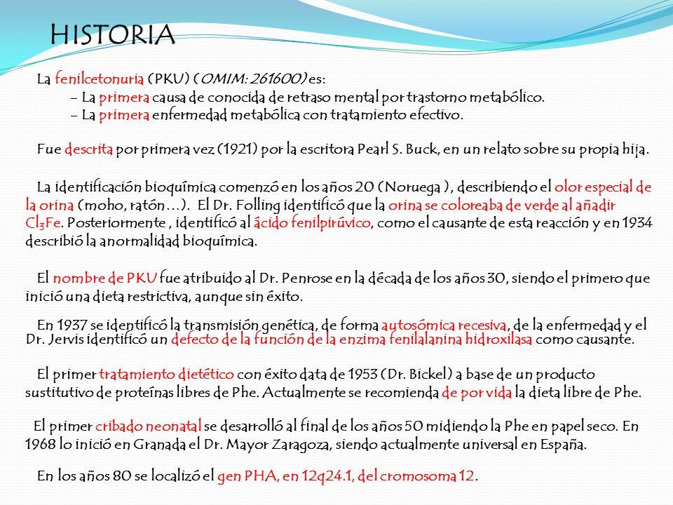 HISTORIA La fenilcetonuria (PKU) (OMIM: 261600) es: