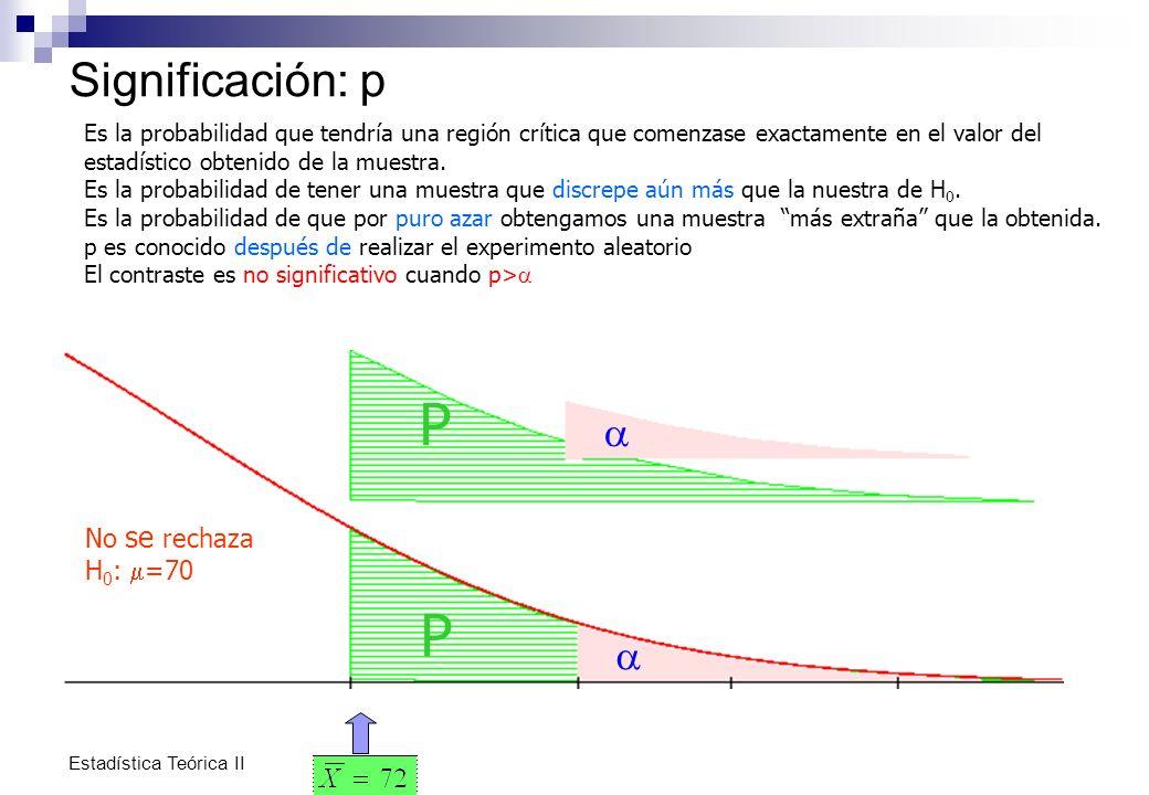 P P Significación: p a a No se rechaza H0: m=70