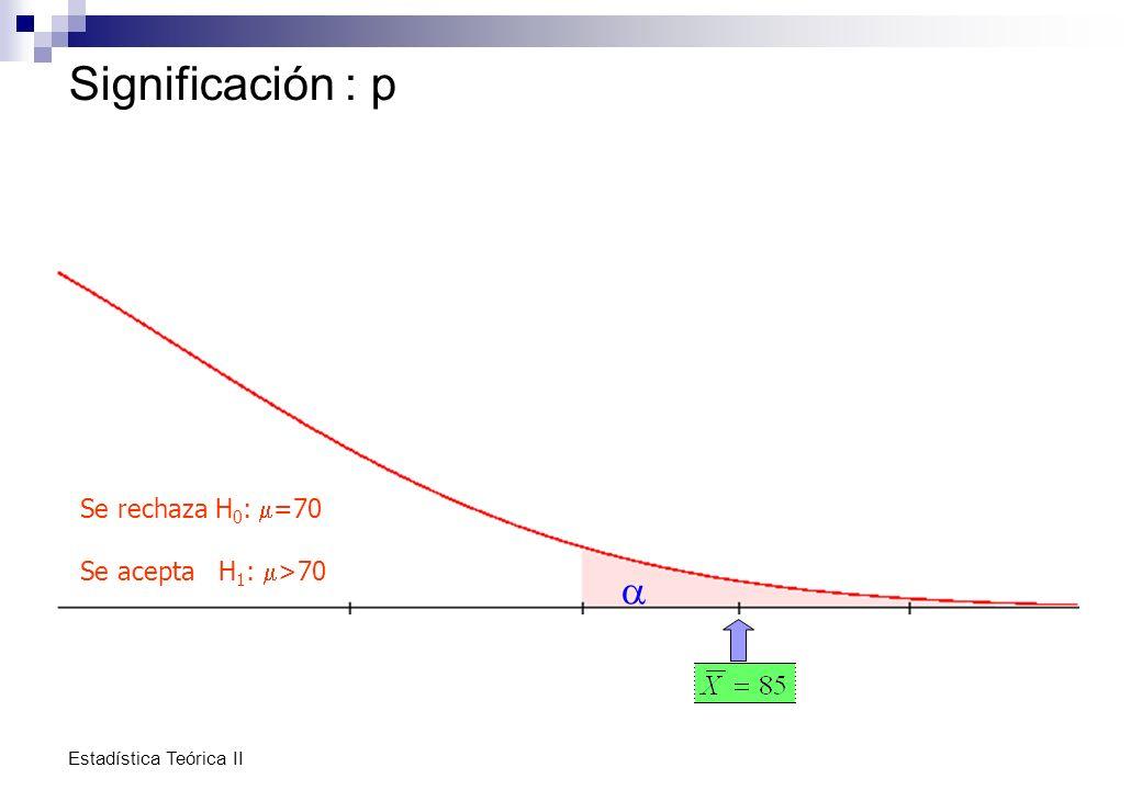 Significación : p a Se rechaza H0: m=70 Se acepta H1: m>70