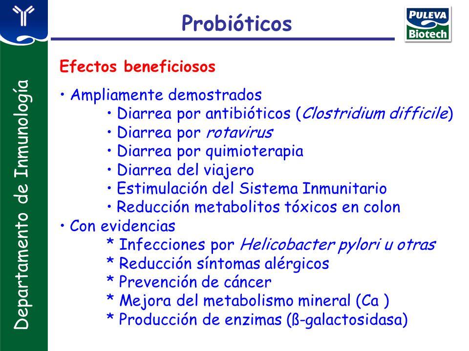 Probióticos Departamento de Inmunología Efectos beneficiosos