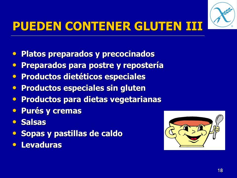 PUEDEN CONTENER GLUTEN III