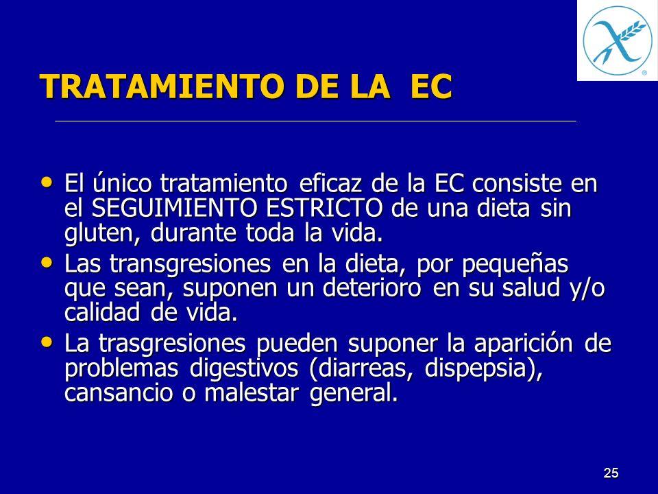 TRATAMIENTO DE LA EC El único tratamiento eficaz de la EC consiste en el SEGUIMIENTO ESTRICTO de una dieta sin gluten, durante toda la vida.