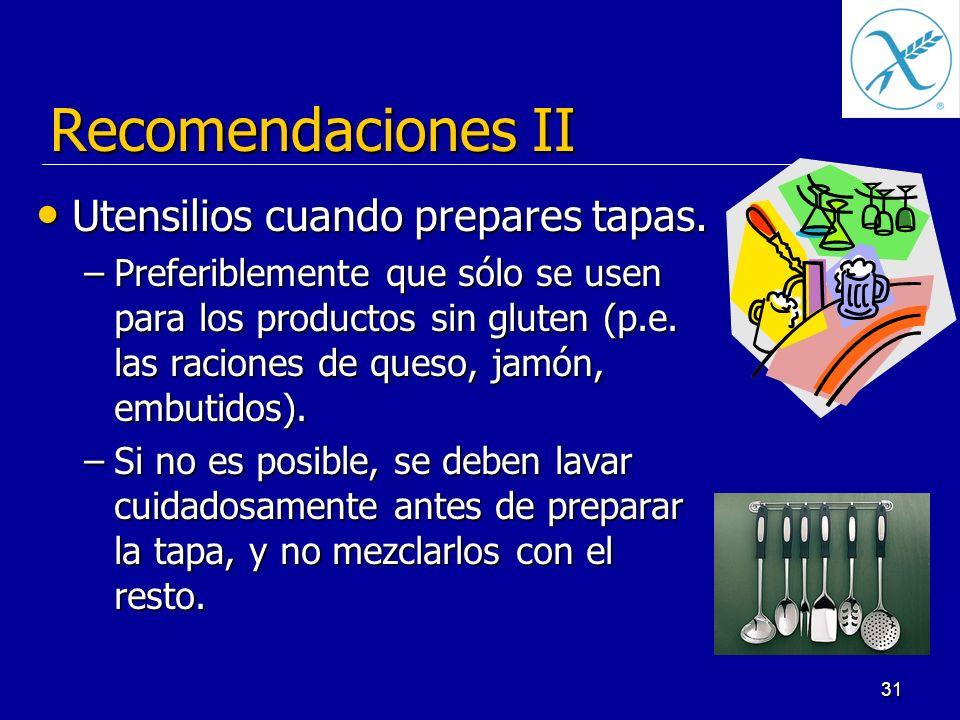 Recomendaciones II Utensilios cuando prepares tapas.