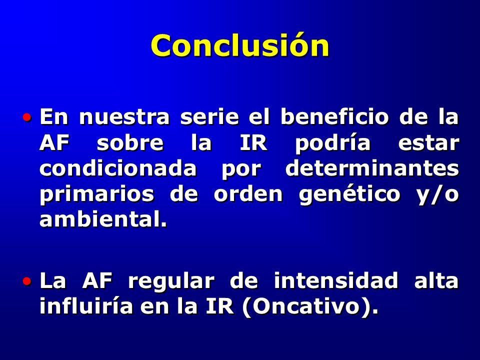 Conclusión En nuestra serie el beneficio de la AF sobre la IR podría estar condicionada por determinantes primarios de orden genético y/o ambiental.