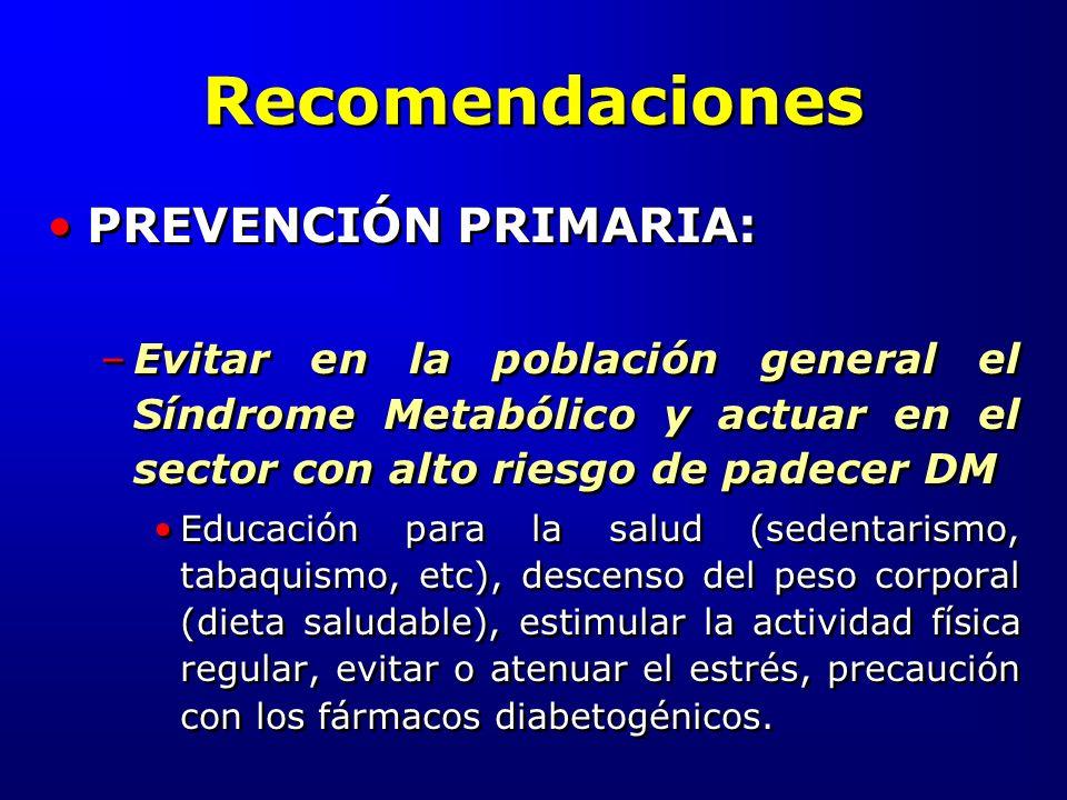 Recomendaciones PREVENCIÓN PRIMARIA: