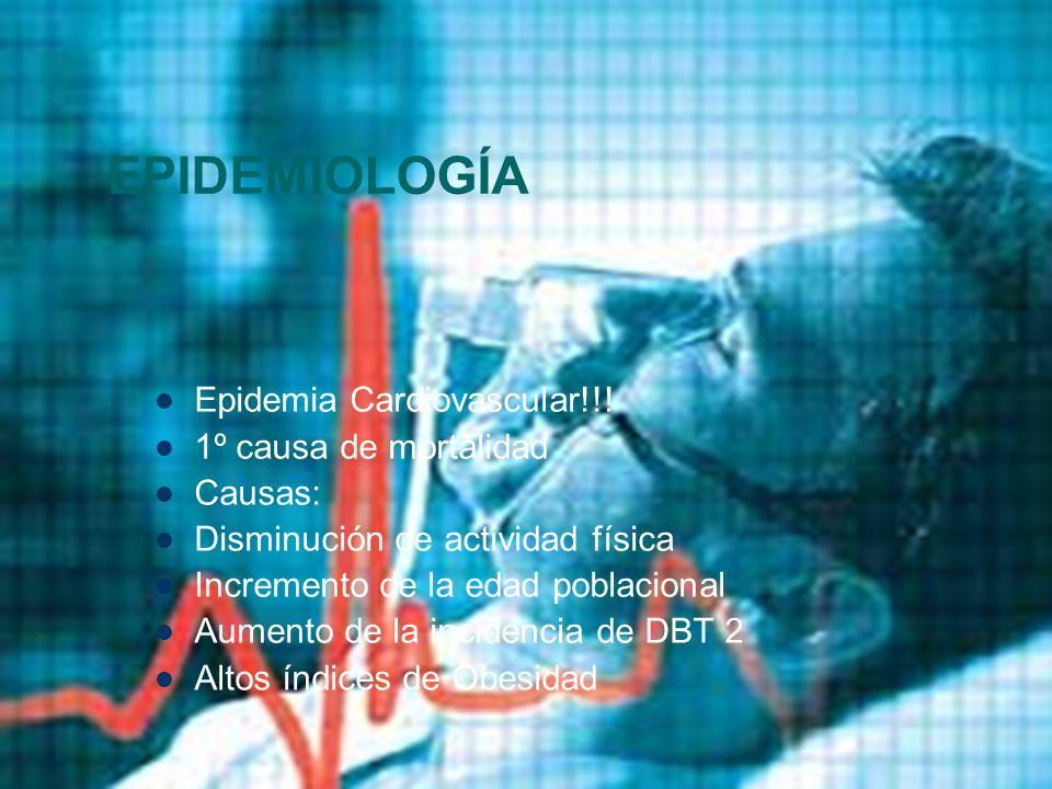 EPIDEMIOLOGÍA Epidemia Cardiovascular!!! 1º causa de mortalidad