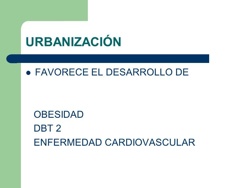 URBANIZACIÓN FAVORECE EL DESARROLLO DE OBESIDAD DBT 2