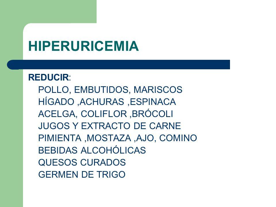 HIPERURICEMIA REDUCIR: POLLO, EMBUTIDOS, MARISCOS