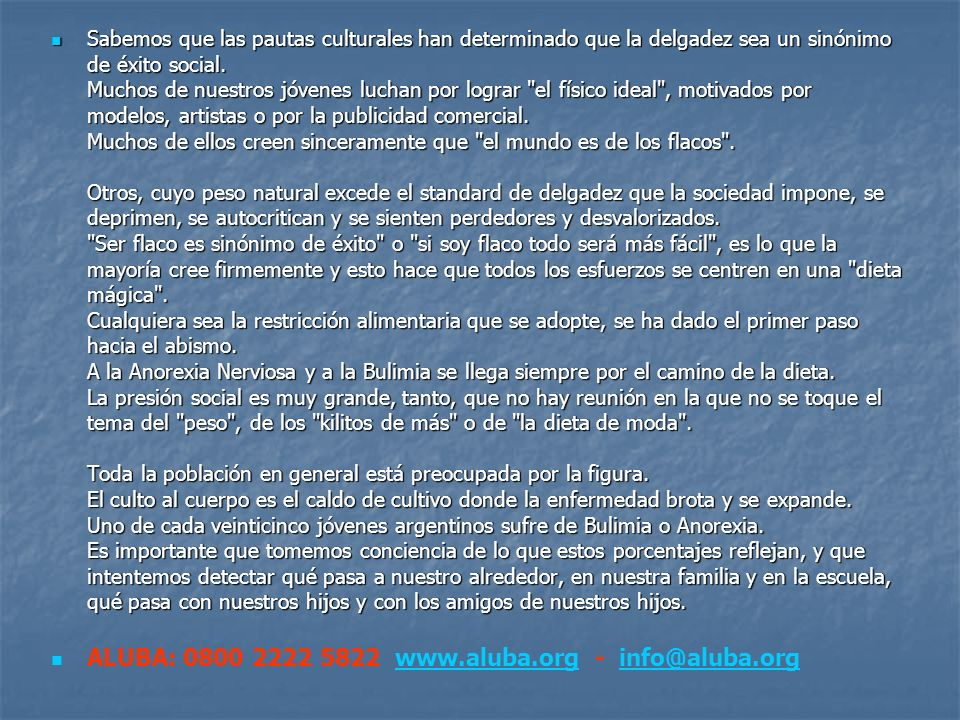 ALUBA: 0800 2222 5822 www.aluba.org - info@aluba.org
