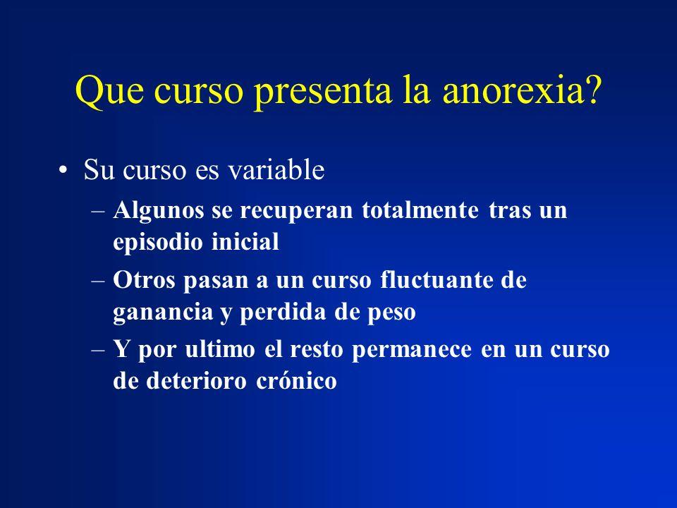 Que curso presenta la anorexia