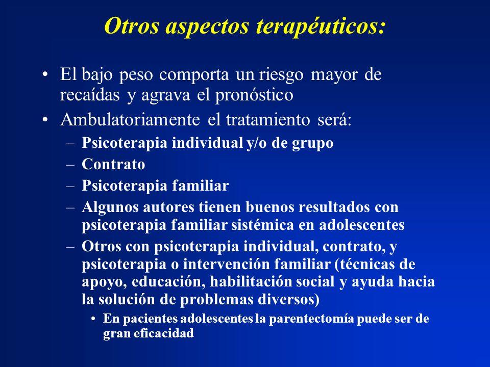 Otros aspectos terapéuticos: