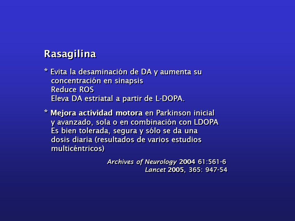 Rasagilina * Evita la desaminación de DA y aumenta su