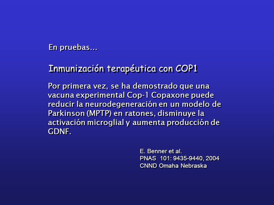 Inmunización terapéutica con COP1