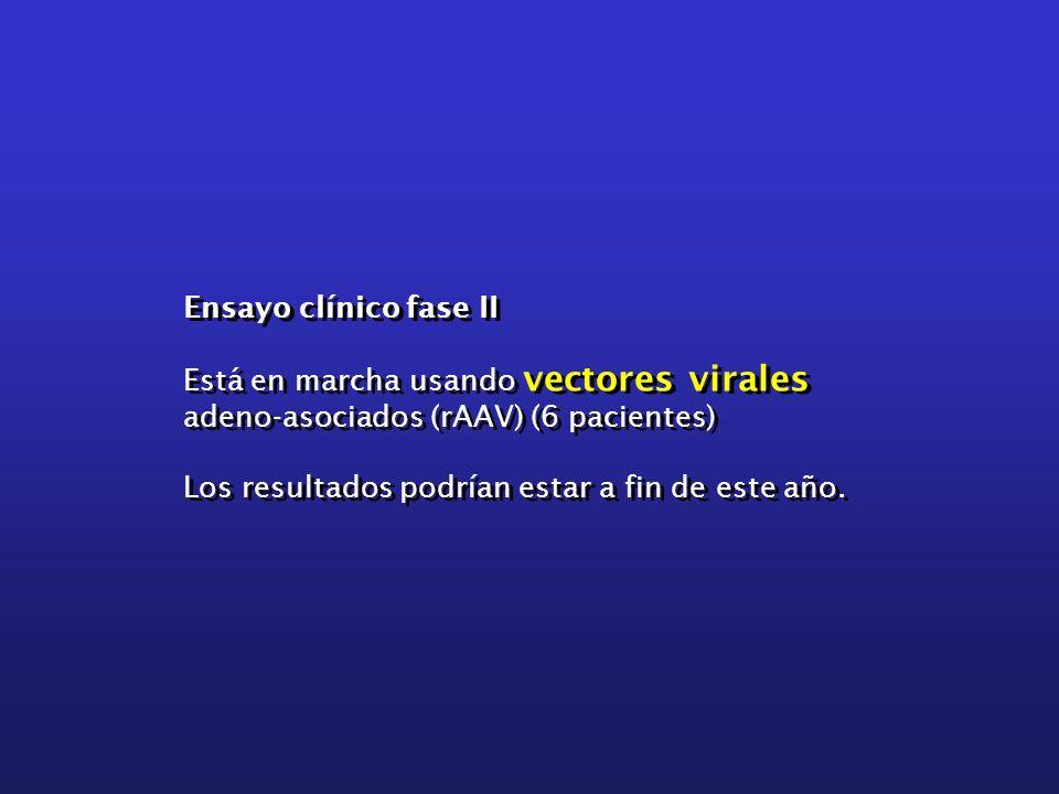 Ensayo clínico fase II Está en marcha usando vectores virales adeno-asociados (rAAV) (6 pacientes) Los resultados podrían estar a fin de este año.