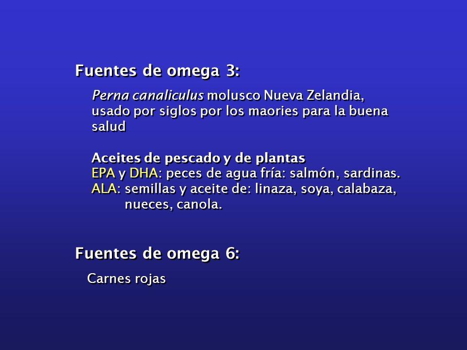 Fuentes de omega 3: Fuentes de omega 6: