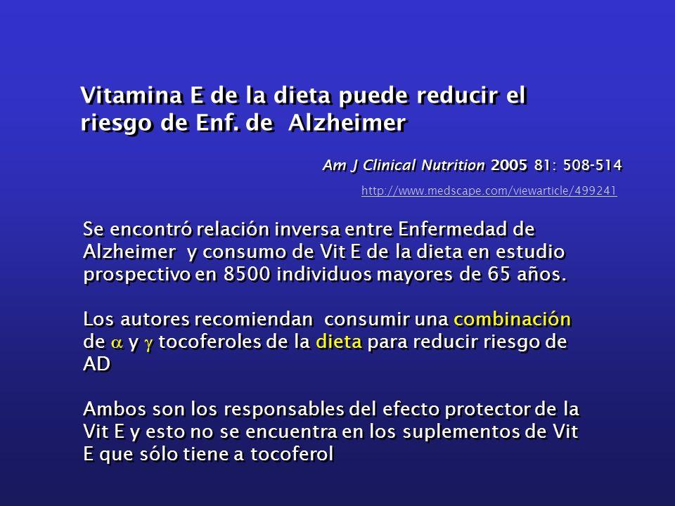 Vitamina E de la dieta puede reducir el riesgo de Enf. de Alzheimer