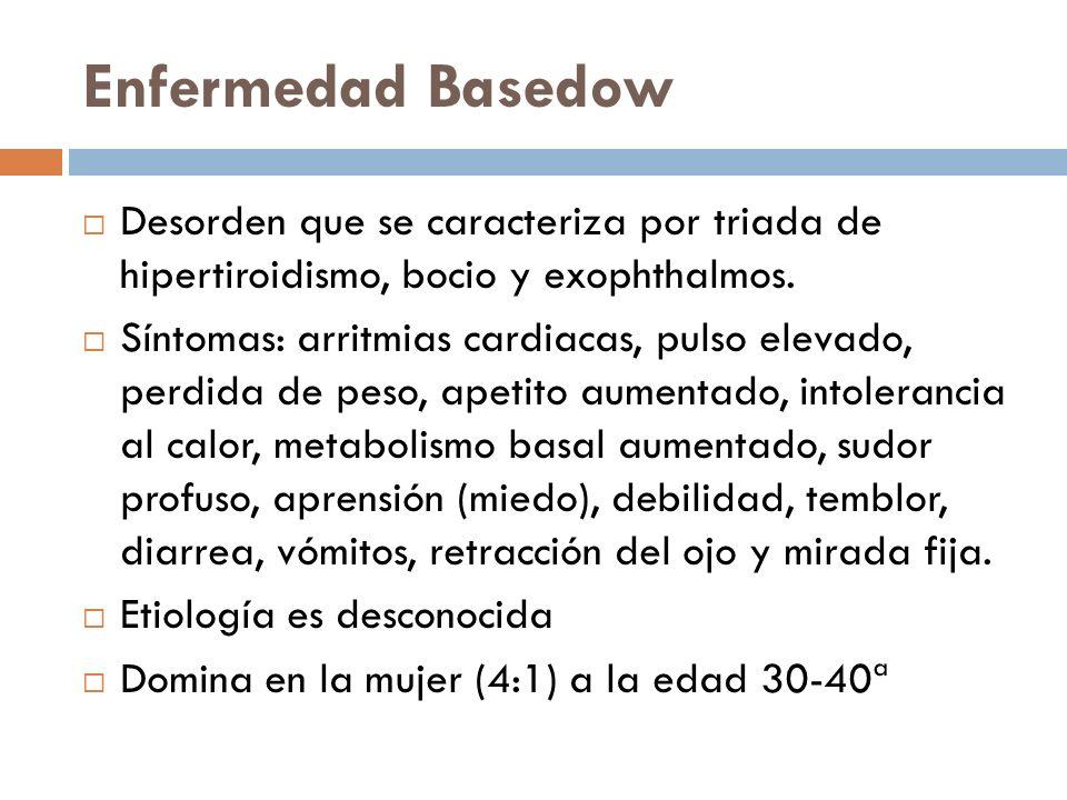 Enfermedad Basedow Desorden que se caracteriza por triada de hipertiroidismo, bocio y exophthalmos.