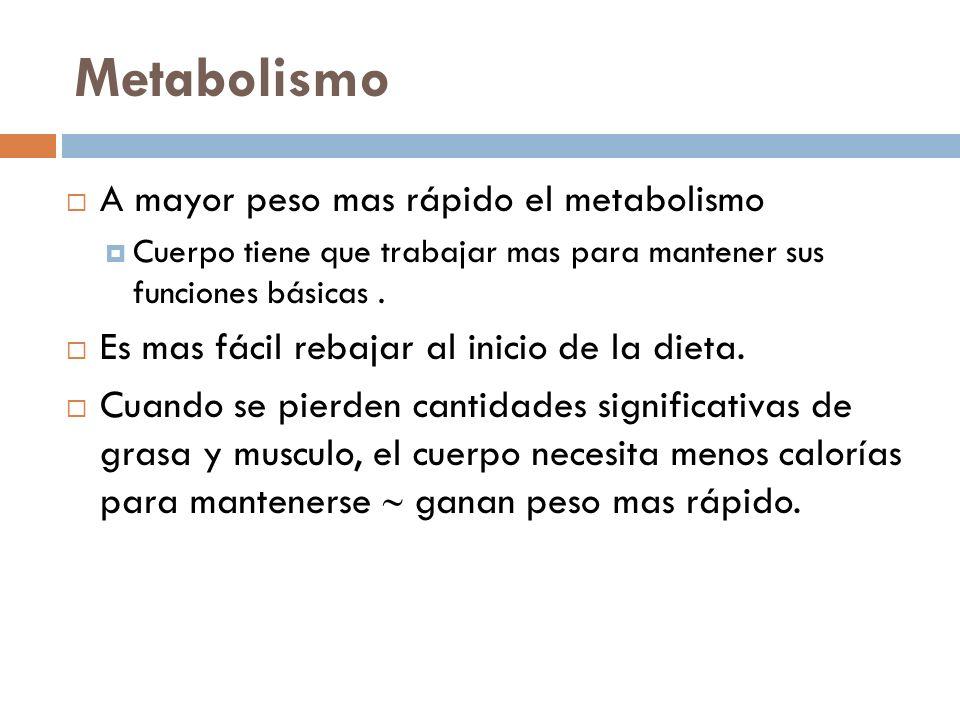 Metabolismo A mayor peso mas rápido el metabolismo