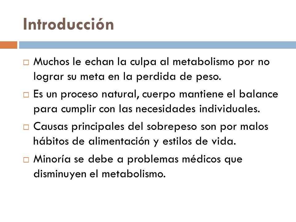 Introducción Muchos le echan la culpa al metabolismo por no lograr su meta en la perdida de peso.