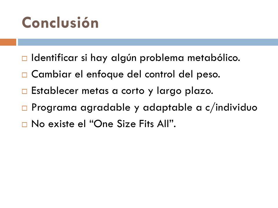 Conclusión Identificar si hay algún problema metabólico.